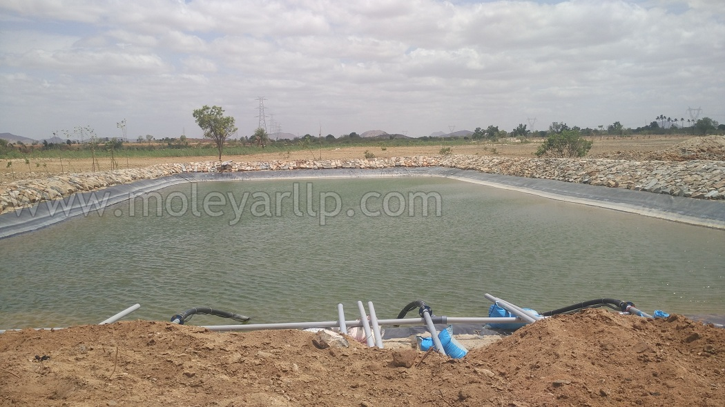 water storage pond with liner